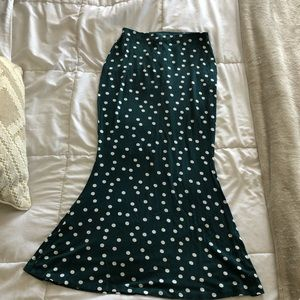 ASOS Dark Green Polka Dot Midi Skirt